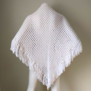 Vtg White Crochet Handknit Sweater Shawl Scarf